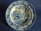'Grazing Rabbits' Pearlware Soup Plate c1820 #2